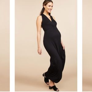 Floor-length black maternity dress